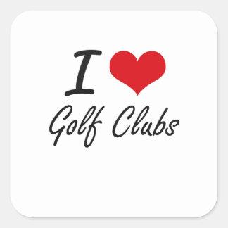 I love Golf Clubs Square Sticker