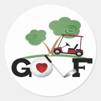 I Love Golf Round Sticker