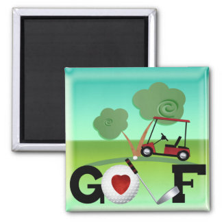 I Love Golf Square Magnet