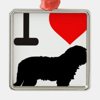 I love Gos d'atura Catalan shepherd sheeperdog Silver-Colored Square Decoration