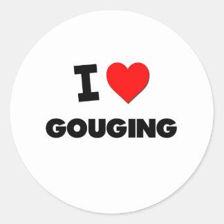 I Love Gouging Round Stickers