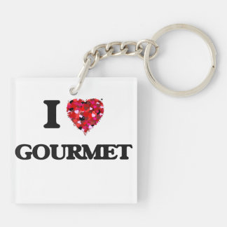 I Love Gourmet Double-Sided Square Acrylic Key Ring
