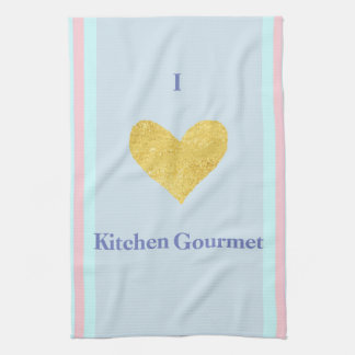 I-Love Gourmet With a-Golden Heart  Kitchen Towel