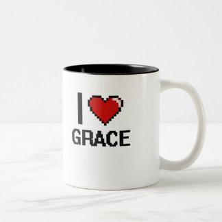 I Love Grace Digital Retro Design Two-Tone Coffee Mug
