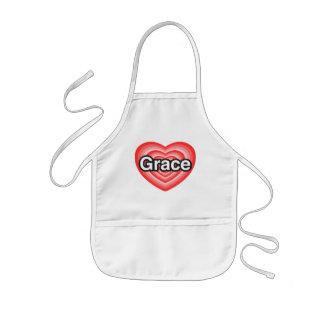 I love Grace. I love you Grace. Heart Kids Apron