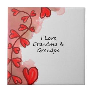 I Love Grandma & Grandpa Ceramic Tile