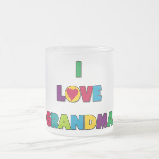 I Love Grandma T-shirts and Gifts Frosted Glass Coffee Mug