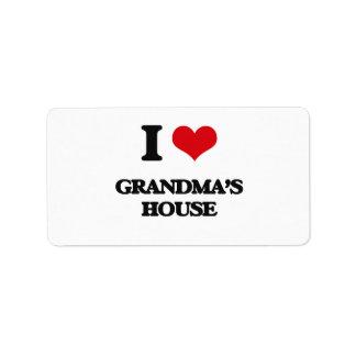 I love Grandma'S House Address Label
