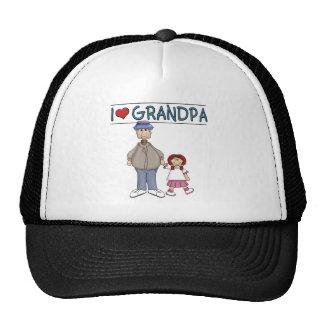 I Love Grandpa Red Haired Girl Cap