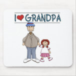 I Love Grandpa Red Haired Girl Mouse Pad