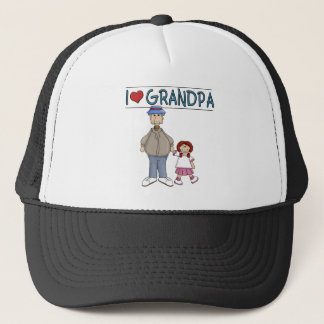 I Love Grandpa Red Haired Girl Trucker Hat