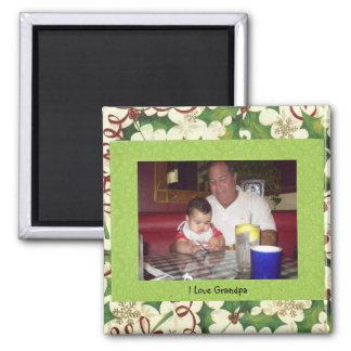 I Love Grandpa Square Magnet