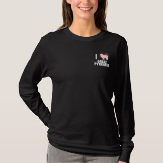 I Love Great Pyrenees Embroidered Long Sleeve Tee