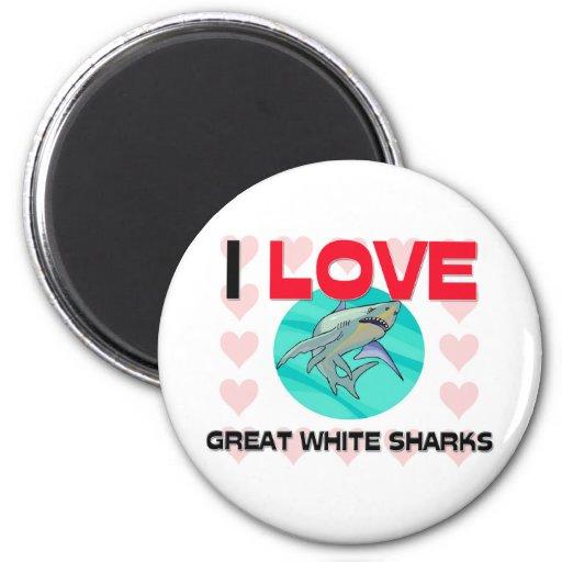 I Love Great White Sharks Refrigerator Magnet