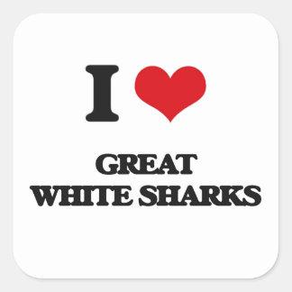 I love Great White Sharks Square Sticker