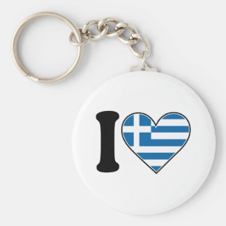 I Love Greece Basic Round Button Key Ring