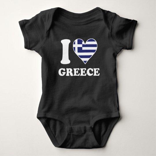 I Love Greece Greek Flag Heart Baby Bodysuit