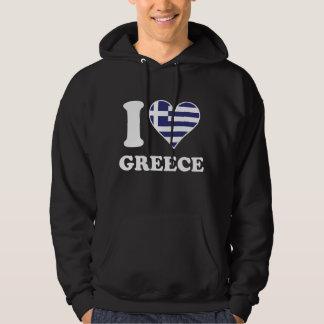 I Love Greece Greek Flag Heart Hoodie
