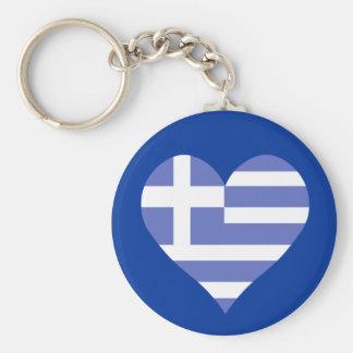 I Love Greece Heart Basic Round Button Key Ring