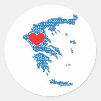 I Love Greece Map Classic Round Sticker