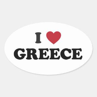 I Love Greece Oval Sticker