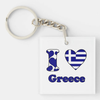 I love Greece Single-Sided Square Acrylic Key Ring