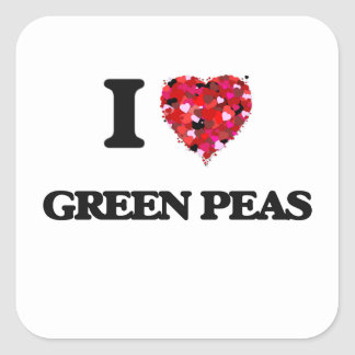 I Love Green Peas food design Square Sticker
