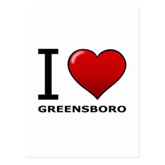 I LOVE GREENSBORO, NC - NORTH CAROLINA POSTCARD
