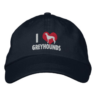 I Love Greyhounds Dark Embroidered Hat