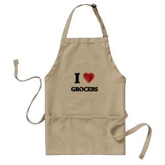 I love Grocers (Heart made from words) Standard Apron