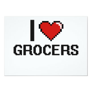 "I love Grocers 5"" X 7"" Invitation Card"