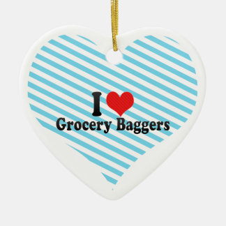 I Love Grocery Baggers Ceramic Ornament