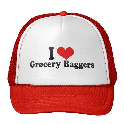 I Love Grocery Baggers Hats