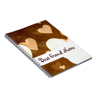 I Love Grunge Light Brown Heart Pattern Spiral Notebook