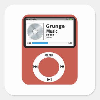 I love Grunge Music Square Sticker