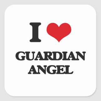 I love Guardian Angel Square Sticker