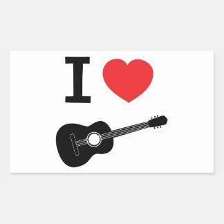 I love guitar rectangle sticker