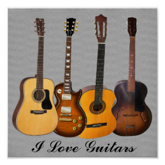 I LOVE GUITARS POSTER