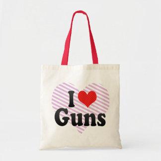 I Love Guns Tote Bags