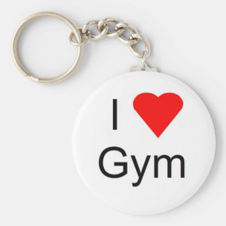 I love gym basic round button key ring