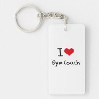 I Love Gym Coach Double-Sided Rectangular Acrylic Key Ring