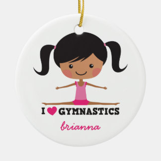 I love gymnastics cartoon girl personalized name ceramic ornament