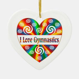 I Love Gymnastics Ceramic Heart Decoration