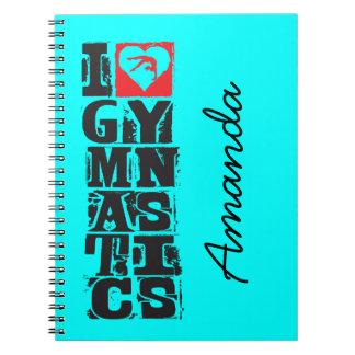 I Love Gymnastics Hunter Personalised Notebook