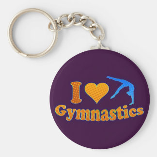 I LOve Gymnastics Orange Shirt Bag Gifts Basic Round Button Key Ring