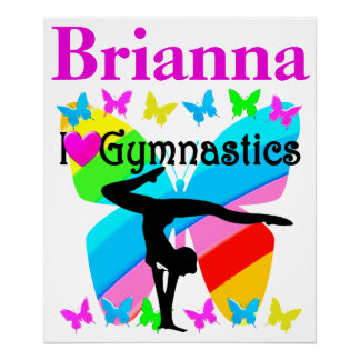 I LOVE GYMNASTICS PERSONALIZED BUTTERFLY POSTER