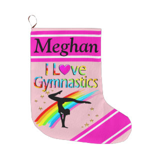 I LOVE GYMNASTICS PERSONALIZED CHRISTMAS STOCKING