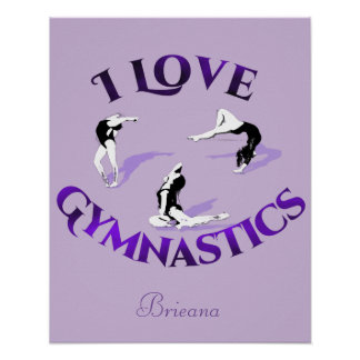I Love Gymnastics Personalized Poster