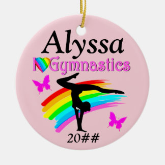 I LOVE GYMNASTICS PINK PERSONALIZED  ORNAMENT