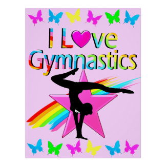 I LOVE GYMNASTICS RAINBOW GYMNAST GIRL DESIGN POSTER
